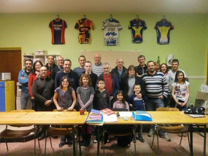 Photo de la première réunion du Vélo Club Montcellien